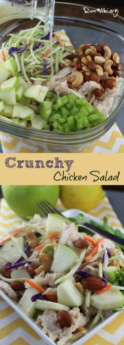Healthy Crunchy Chicken Salad recipe. You could use this in a sandwich , weeknight no bake dinner, great at baby and bridal showers, bbq, and potlucks. Quick and easy to assemble- under 30 minutes