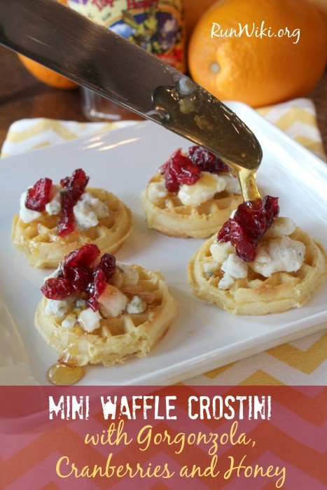 Mini Waffle Crostini with gorgonzola, cranberries and honey- This appetizer recipe is so quick and easy to make. I've served them at super bowl parties, and summer bbq's and every time they're gone in minutes.