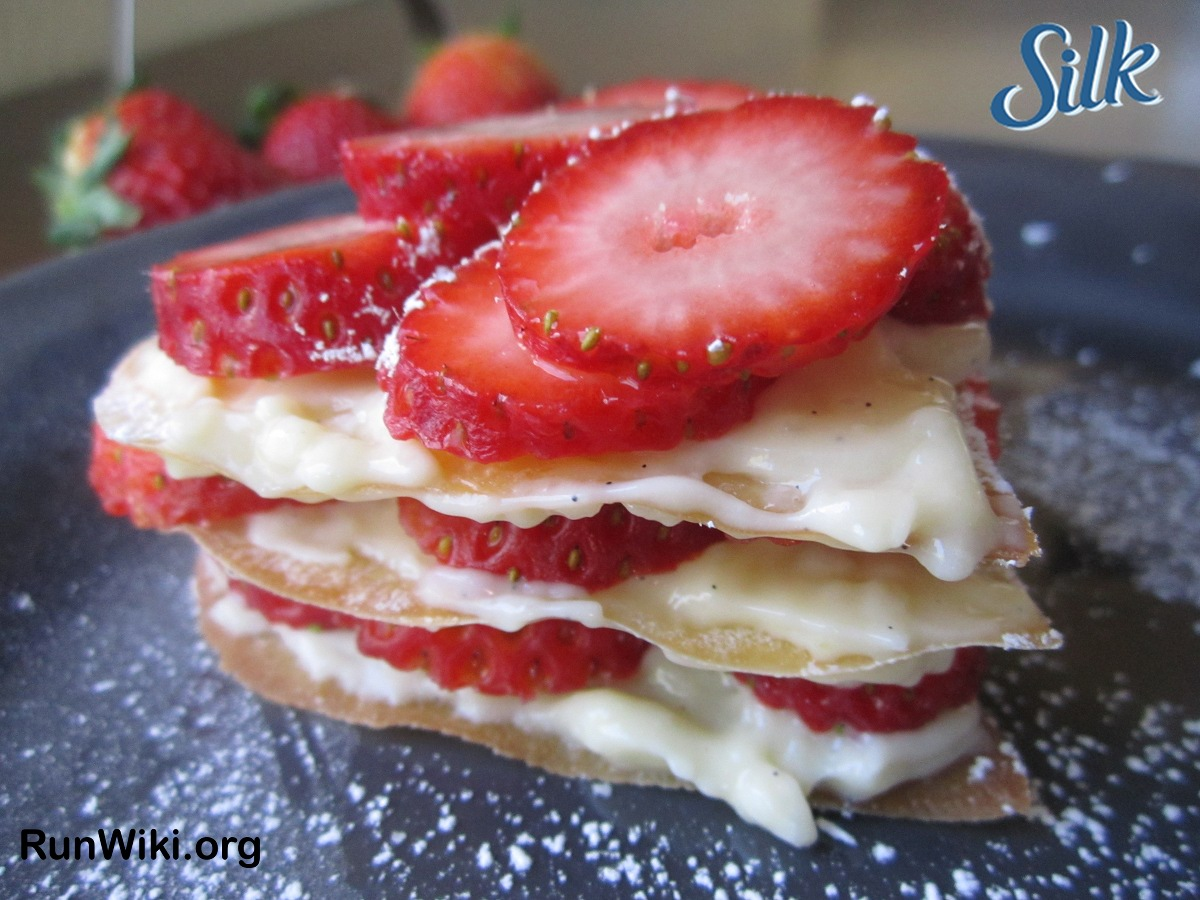 160 Calorie Strawberry Napoleon- this low calorie, low sugar, dairy free dessert recipe can be made with just about any fruit. Great for Valentines, Mother's day, wedding or anniversary