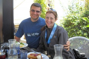 Polina and her fiance Nikolay after completing her race, and new PR of 1:43:04