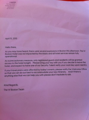 the letter from our hotel