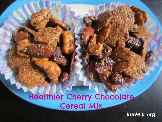 Cherry Chocolate Cereal Mix. A health version of the popular old standard. Great as an after school or mid day snack- quick and easy- great at party appetizer or at potluck