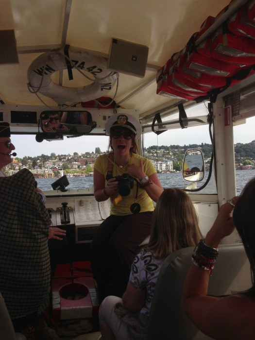 Holly Roberts captaining our Duck Tour Boat.