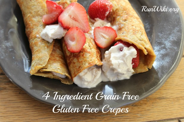 4 Ingredient Gluten Free Grain Free Crepe recipe-only a few ingredients and great if you're clean eating- such a healthy breakfast idea