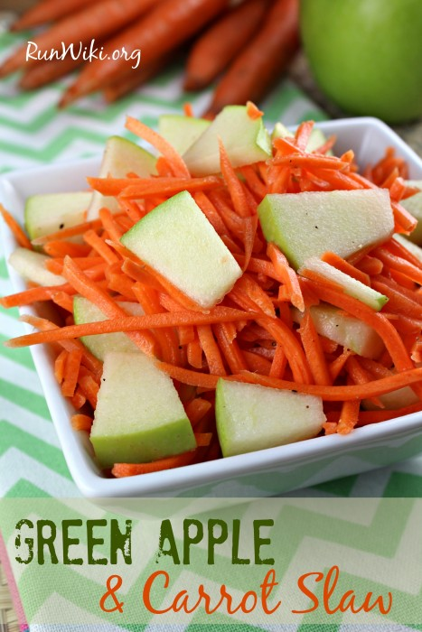 Green Apple and Carrot Slaw- I love this recipe! It's such a good summer picnic, bbq side / salad. It's has a sweet tart flavor and great if you're clean eating.