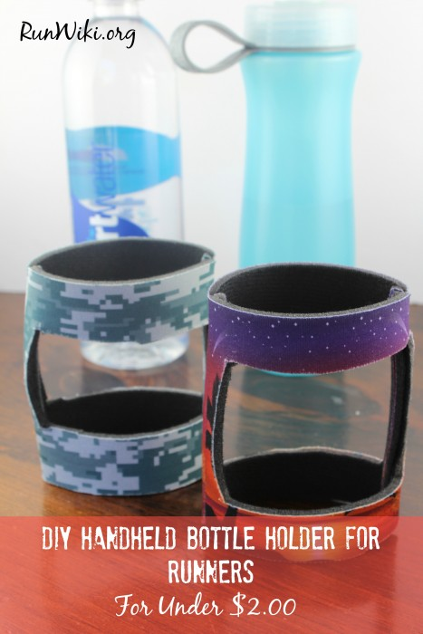 DIY Handheld Water Bottle Holder for runners. These homemade bottle holders take 10 minutes to make. They are even popular with my kids. half marathon tips