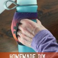 DIY handheld water bottle for under 2 dollars. Can be used for running, hiking, and kids- can use most any bottle with it. I used this when I trained for my half marathon because I could through the bottle out at the end of my run, and stick the holder in my flip belt, also very popular with my kids.