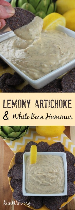 Lemony Artichoke and White Bean Hummus Dip. I love this clean eating appetizer. Sometimes I will eat it as a main dish when I don't feel like cooking- even my kids love this