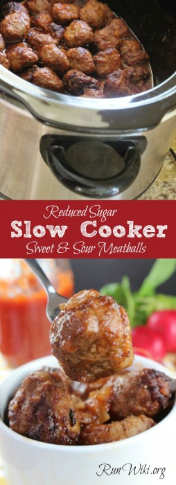 Reduced Sugar Slow Cooker Sweet and Sour Meatballs. Need a quick and easy weeknight dinner recipes? This healthy slow cooker recipe takes less than 15 minutes to prep. I serve this at parties, game day and potlucks,- so easy. and popular with kids. crockpot