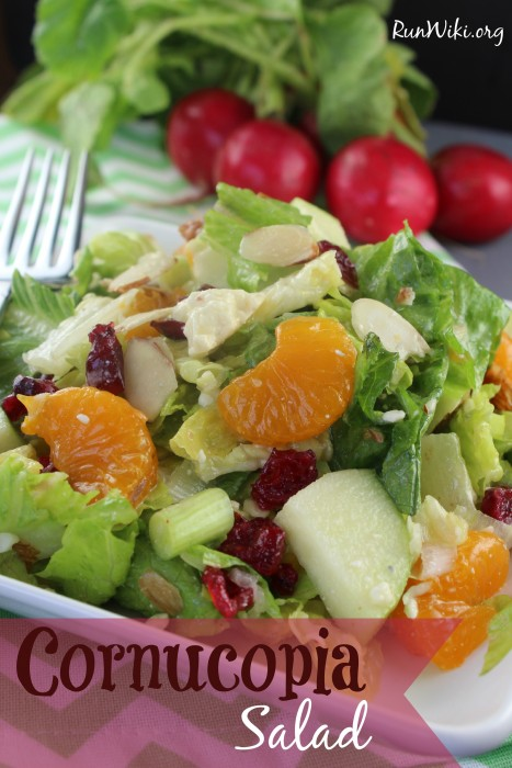 Cornucopia Salad is full of  flavor the sweet, chewy dried fruit meets the tangy, salty blue cheese making this salad recipe burst with flavor. I have served this at bridal and baby showers, bbq's, parties, and potlucks and every time someone wants the recipe. We will be eating this all summer long.