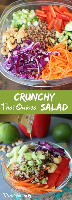 Crunchy Thai Quinoa Salad with a creamy peanut dressing- I love this ...
