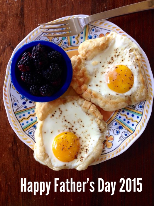 Father's Day Breakfast- Eggs in Puff Pastry and fresh balckberries