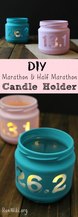 DIY Candle holder- super easy, even a beginner could make this -3 steps to make this candle in a jar. This would make a perfect gift that kids or grown ups could give their parents and friends who run. Great homemade gift for Christmas, birthday, or any occasion. If you are training for a half marathon and need a little inspiration, these do the trick. Can also put quotes or mantras on them. Show off your fitness accomplishment!