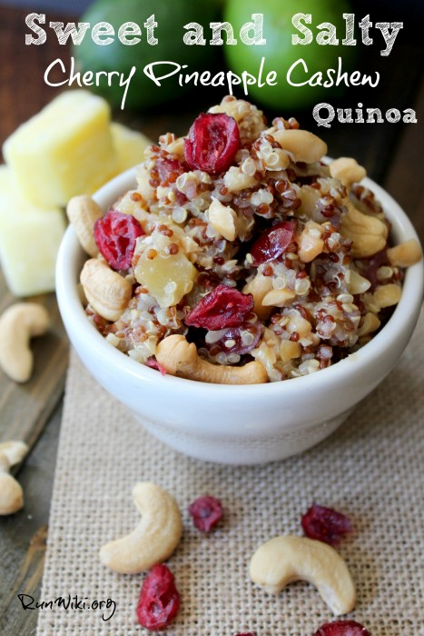 Cherry Pineapple Cashew Quinoa- I love this sweet and salty easy to make quinoa salad. It is great for a healthy, make ahead brown bag lunch or dinner. I have served this at parties, as as a side dish,  at pot lucks, and on game day- people always ask me for the recipe. The dressing has soy sauce and pineapple juice so the flavors soak into the grain. A must try !