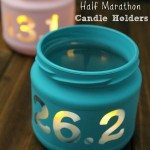 DIY Candle holder- super easy, even a beginner could make this -3 steps to make this candle in a jar. This would make a perfect gift that kids or grown ups could give their parents and friends who run. Great homemade gift for Christmas, birthday or any occasion. If you are training for a half marathon and need a little inspiration these do the trick. Can also put quotes or mantras on them. Show off your fitness accomplishment!