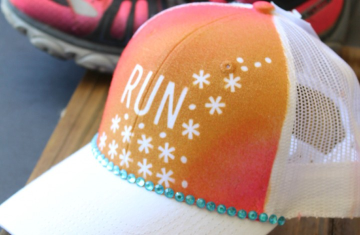 Super easy DIY Trucker Hat Project for runners. This  clothes/hat craft  idea is only 4 steps. Could be given as a christmas gift for fitness person who is training for a half marathon- could put any quote for inspiration on it.
