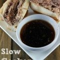 Slow Cooker French Dip  Sandwiches- not exactly healthy but very delicious. The broth is so rich and flavorful and unlike some crock pot meals, this one have minimal prep- could also make with chicken. These is my go to recipe for summer and weeknight dinners, family friendly even my kids like it. Could be served for a crowd on game day or pot luck.