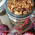Reduced sugar healthy Slow Cooker Granola. Great back to school breakfast idea or recipe for a brunch or pot luck. Quick and easy and no junk ingredients like store bought- very little prep, just throw it in the Crock Pot and there you have a breakfast- can make ahead. Gluten free and vegan.