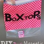 DIY Magnetic Box Tops storage bag. Be organized for Back to School with this easy DIY project. You only need a few household items and you can store those annoying  Box Tops in one place. The kids could even make this craft.