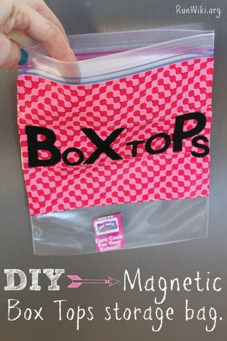 DIY Magnetic Box Tops storage bag. Be organized for Back to School with this easy DIY project. You only need a few household items and you can store those annoying Box Tops for education in one place - make one for a teacher gift. This craft idea is so easy - my kids made it.