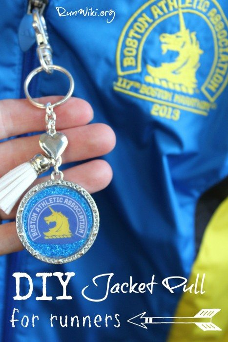 DIY Jacket Pull for runners- this project is very easy to make and would be a great Christmas gift for any fitness person training for a 5K, 10K, half or full marathon. You could put any running quote, tips, inspiration, or motivational saying- love the simple design of the key chain and how it can be used as a jacket pull, too! running clothes