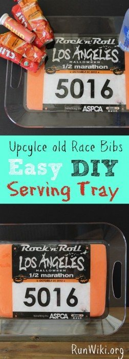 DIY Race Bib Tray for runners. Upcylce old race memories with this easy craft idea. If you are wondering what to do with old bibs, heres an answer. If you can cut and glue you can make this- easy enough for kids to make. Great Christmas gift idea for the runner in your life. Half marathon training| 5K training | 10K training for beginners | fitness | motivation | quotes | workout tips