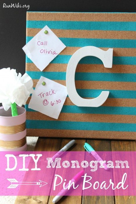 DIY Monogram Pin Board - great Christmas craft gift idea for desk or bedroom. Easy project with only 4 steps - beautiful in any home or office