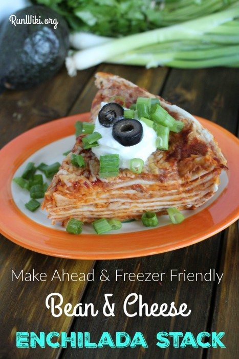 Bean and cheese Enchilada Stack. My family and I love this easy weeknight dinner idea. Nothing too spicy, so even most young kids will love it- serve with rice. I make several ahead of time and freeze for later.So simple to make- only three ingredients that you probably have in your pantry. | Inexpensive Meal Idea| Mexican Food Recipe | Potluck | Gameday