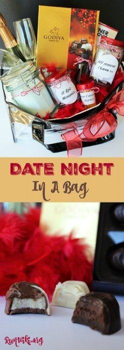 Date Night In a Bag- Sometimes you need to take your romance on the go and this gift idea is the perfect way to travel with your significant other. It would also be a great Christmas or Valentines gift for your love. All items are inexpensive or free. Sponsored