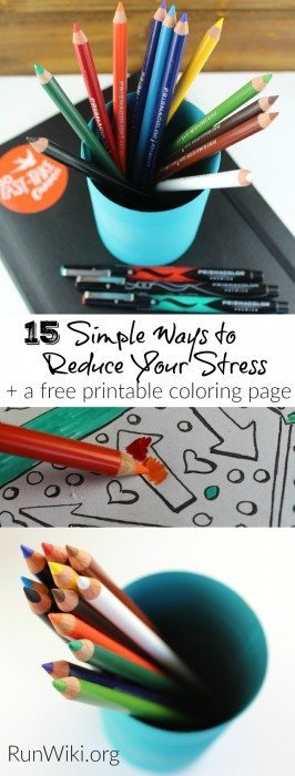15 Simple ways to reduce stress and anxiety. All of these can be done in 15 minutes or less. Plus a free printable adult coloring page @MichaelsStores ad