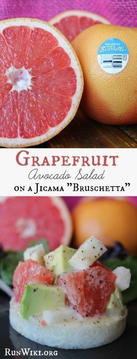Grapefruit Avocado Salad on a Jicama Bruschetta. This quick and easy recipe has a delicious honey poppy seed dressing. Perfect healthy appetizer for a potluck or bbq. This snack is so refreshing! #HalosFun #Spon