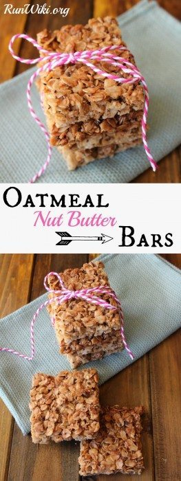 Oatmeal Bars--- Store bought granola bars are full of junk ingredients. Making them at home is so easy! This is my go-to pre-run fuel or grab and go breakfast for my kids when we are running late. We eat these as a healthy after school snack. Loaded with protein, very little added sugar and tons of omegas. Love this recipe!