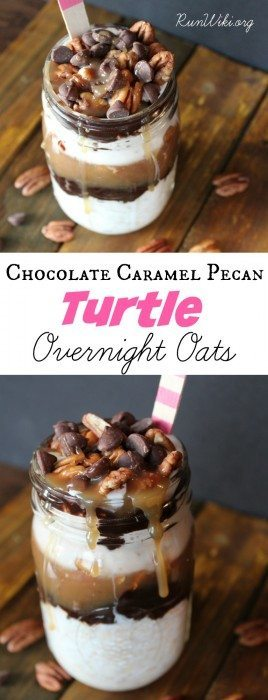 Chocolate Caramel Pecan Turtle Overnight Oats. Make ahead quick and easy healthy breakfast idea that even your kids will love. By looking at this you would think it is full of sugar, but there is in fact very little. A small amount in the caramel sauce and some in the chips. Add chia and hemp seeds for an extra boost of omegas. Dairy Free and Vegan. Great on the go!