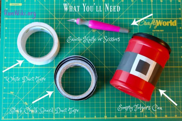 Easy DIY Folgers Canister Santa Belt Craft Ideas. What a great way to upcycle your old coffee cans. Perfect for Christmas Cookies, a gift or candy. I can see filling it with dollars or as a gift card holder.