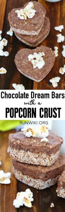 Like a Chocolate Cream Pie recipe, but with all healthy, clean ingredients-- sink your teeth into one of these Dream Bars with a Popcorn Crust- vegan desserts | gluten free | dairy free