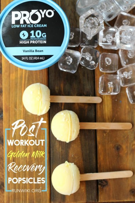 These little homemade popsicles are the perfect post run or workout snack food recipe. Packed with protein and natural anti-inflammatory ingredients turmeric and ginger. Accelerate your recovery this summer with these frozen treats. Running | Half Marathon training | foods | tips | golden milk