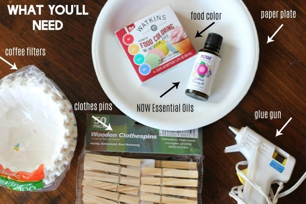 Easy DIY homemade coffee filter air freshener is the perfect smell hack for your car, bathroom, cat litter box, or diaper changing station. All natural and made with essential oils. Inexpensive and can be done with kids as a fun craft idea. Makes a nice gift the gassy person in your life.